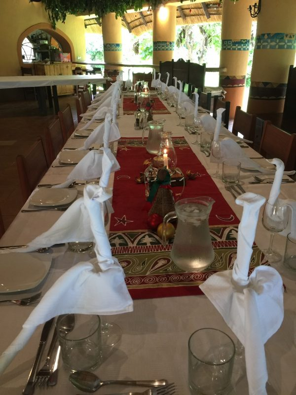 Flatdogs Christmas table set up for 43 guests 2017